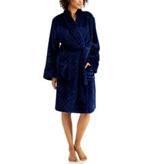 charter club short carved-diamond cozy robe, created for macy's