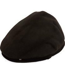faux suede & faux shearling newsboy cap