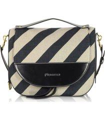 jw anderson black and off white striped linen moon shoulder bag