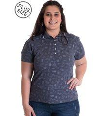 camisa polo konciny feminina plus size piquet estampado 96801 cinza