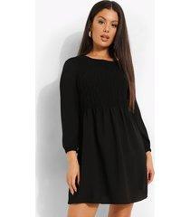 gesmokte jurk met driekwartsmouwen, black