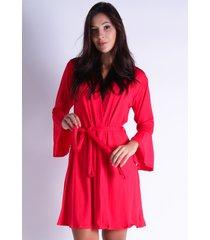 hobby roupã£o bravaa modas robe amarrar lingerie 241 vermelho - vermelho - feminino - poliã©ster - dafiti