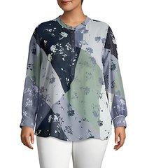plus long-sleeve floral-print top