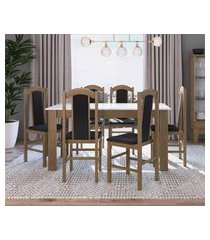 conjunto mesa com 6 cadeiras ameixa negra e preto lilies