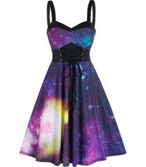 empire waist starry print cami a line dress