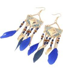 aretes artesanal plumas azules sasmon ar-11326