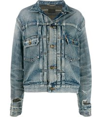 saint laurent destroyed denim jacket - blue