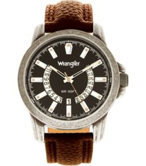 wrangler men's watch, 46mm silver sandblasted case and bezel, black dial, white and beige index markers, dual crescent cutouts for date function, analog watch with beige second hand, brown strap