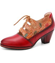 socofy fiori in rilievo in pelle con impiombatura ritagliata décolleté con tacco grosso e lacci scarpe eleganti
