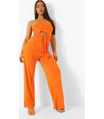 strapless wide leg jumpsuit met uitsnijding en ceintuur, orange