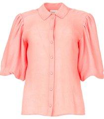 bewerkte blouse met pofmouwen lecce  roze