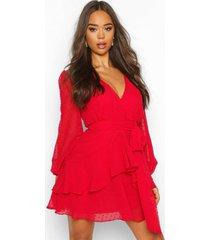 dobby chiffon mini jurk met geplooide zoom, rood