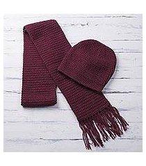 alpaca blend hat and scarf, 'royal burgundy' (peru)