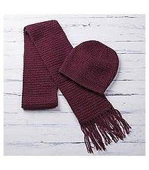 alpaca blend hat and scarf, 'royal burgundy' (peru)