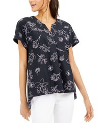 alfani petite button-back top, created for macy's