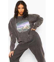 oversized overdye miami sweater, charcoal