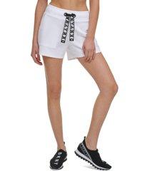 dkny sport lace-drawstring shorts