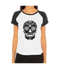 camiseta raglan criativa urbana caveira mexicana florida flores no queixo tribal tattoo