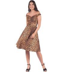 vestido adrissa casual estampado animal print con falda rotonda negro