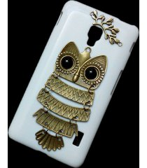 cute retro bronze metal owl branch hard back skin case cover for lg optimus f6