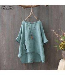 zanzea camiseta de verano para mujer tops asimétrico alto bajo camiseta blusa tallas grandes -verde