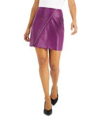bar iii croc-embossed faux-leather zipper mini skirt, created for macy's