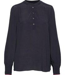 allyn pop over ls blouse blus långärmad blå tommy hilfiger