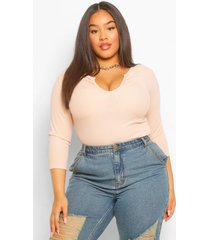 plus notch neck long sleeve fitted top, nude