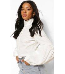 katoenen poplin blouse met hoge hals en volle mouwen, white