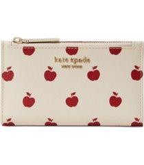 kate spade new york apple toss printed small slim bifold wallet