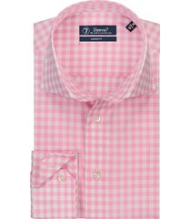 sleeve7 overhemd roze poplin ruit modern fit