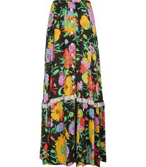 gucci floral print buttoned long skirt