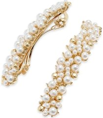 inc gold-tone imitation pearl hair clips, created for macy's