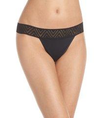 women's thinx lace period thong, size medium - black