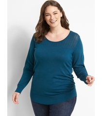 lane bryant women's ruched-side sweater - pointelle 18/20 legion blue