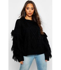 cable fringe knit sweater, black