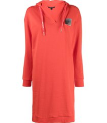 armani exchange logo-patch hoodie dress - red