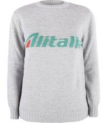 alberta ferretti alitalia logo embroidery grey sweatshirt