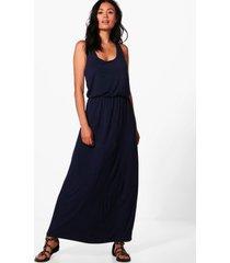 maxi-jurk met racerback, marineblauw