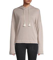 tassel drawstring knit sweatshirt