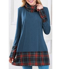 long sleeve plaid insert sweatshirt