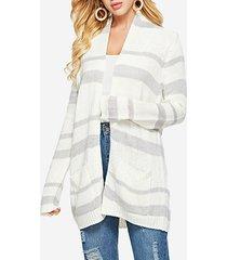 cardigan bianco medio largo allentato a strisce lavorate a maglia
