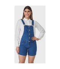 macaquinho jeans jardineira hno jeans macacão short azul