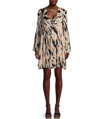 young fabulous & broke women's rosa abstract-print mini dress - black - size m