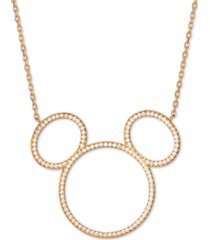 "disney cubic zirconia mickey mouse outline pendant necklace in 18k gold-plated sterling silver, 16"" + 2"" extender"