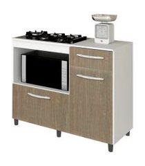 balcáo de cozinha cooktop e forno microondas mali branco/carvalho  lumil móveis