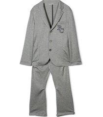 brunello cucinelli dark grey silk-cotton blend two-piece suit