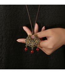 collana di blocco etnico cinese della serratura di pace collana lunga del maglione di stile lungo per le donne