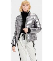ugg australia jas women izzie puffer jacket nylon silver metallic-l