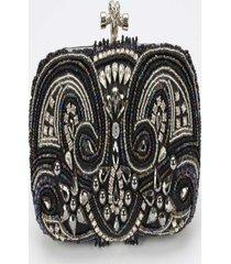 clutch   – pashmina- bordado  polyester – preta - preto - feminino - dafiti